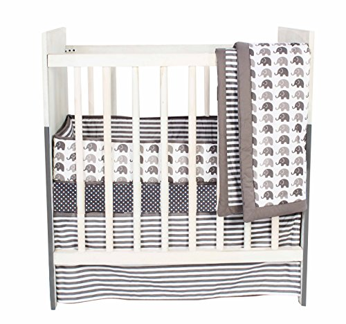 (Bacati Elephants Unisex 3 Piece Portable Crib Bedding Set 100 Percent Cotton for US Standard Cribs, Grey)