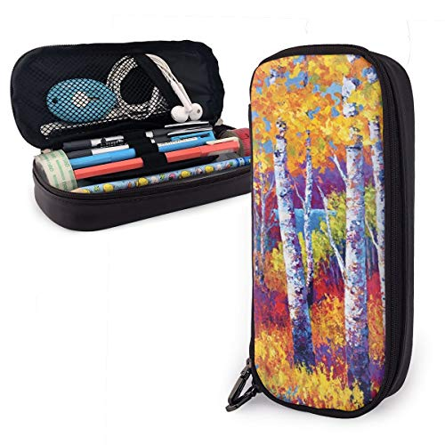 Pen Pencil Case PU Leather Unique Poplar Trees Zippered Pouch for Girl Organizer Office Stationery Bag Holder College…