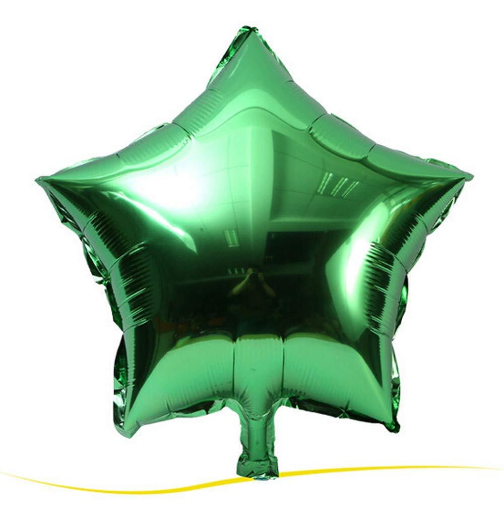 Jeeke 5 Pcs 18 inch Foil Star Balloons Decor for Wedding Party Baby Shower Birthday Decor (Green, 5 Pcs/Set)