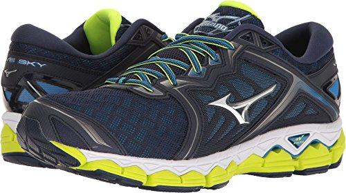 Mizuno Men's Wave Sky Running Shoe, Peacoat/Silver/Safety Yellow, 10.5 D US (Mens Mizuno Mesh)