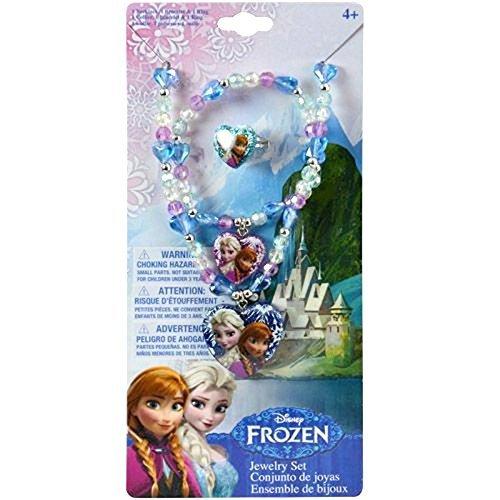 Disney Jewelry Set: Necklace, Bracelet & Ring (Frozen: Elsa and Anna)]()