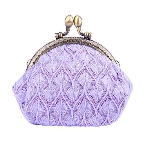 (Oyachic Large Coin Purse Vintage Pouch Buckle Clutch Bag Kiss-lock Change Purse Knitting Clasp Clutch Wallets Cosmetic Bag For Women Girl)