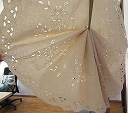 ZHH Cotton Tie-Up Window Curtain Handmade Openwork Crochet Embroidered Roman Shade 24-Inch by 55-Inch, Beige