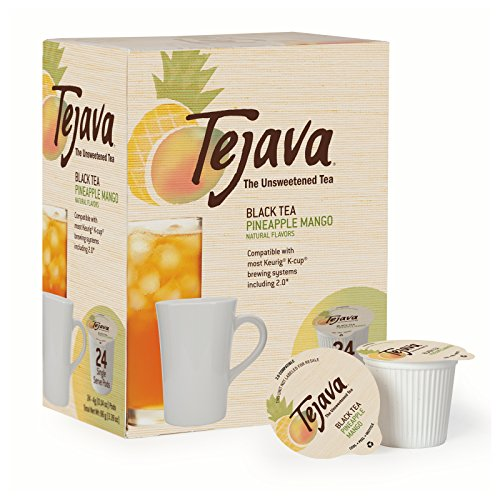 Tejava Unsweetened Black Tea Pods with Natural Pineapple-Mango Flavor, Award-Winning Tea, 100% Recyclable Single Serve Cups | Keurig K-Cup Compatible (24 Count)