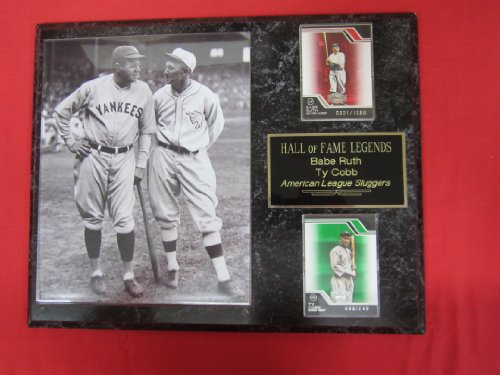 Babe Ruth Ty Cobb Hall of Fame 2 Card Collector Plaque w/8x10 RARE Photo
