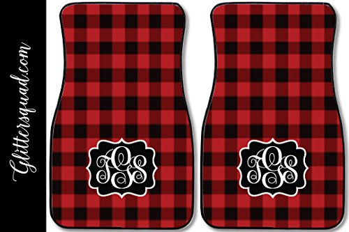 Monogram Car Mats (Monogramed Car Mat Red Buffalo Plaid Pattern (Set of 2))