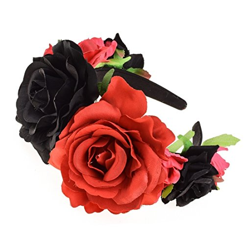 Vividsun Rose Flower Headband Floral Crown Day Of The Dead Headpiece (Red/Black)]()