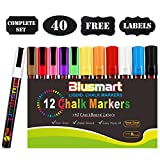 Chalk Markers, Blusmart 12 pack Colorful Erasable Glass Window Pens with 40 Chalkboard Labels, Reversible Tips 6mm+3mm, Children Friendly