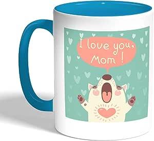 كوب سيراميك للقهوة بطبعة امي ، لون تركواز