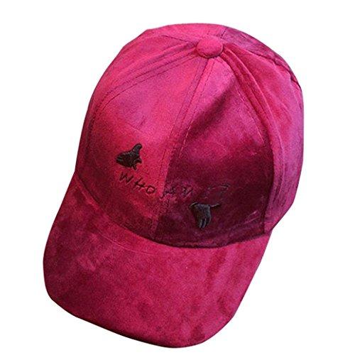 Unisex Velvet Snapback Hip Hop Hat Mesh Cap Fashion Baseball Cap (Wine Red) (Size Hat Plus Velvet)