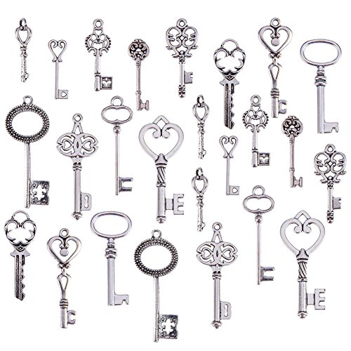 (Kissitty Random Mixed Style Antique Silver Skeleton Key Pendants 1.1~1.81