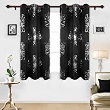 Deconovo Room Darkening Foil Print Floral Panels Grommet Thermal Insulated Blackout Curtains For Nursery Room 42x63 Inch Black Set of Two