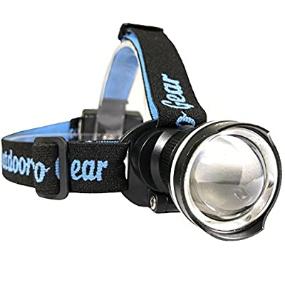Lighthouse Beacon 1000 SUPER BRIGHT LED Headlamp - The best and brightest spotlight headlight - zoomable water resistant - rugged shock proof flashlight - hiking hunting camping headlamp