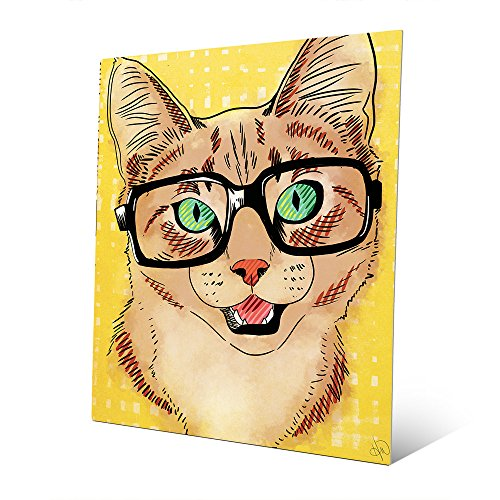 Hipster Cat: Brown & Tan Happy Striped Cat Wearing Glasses