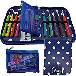 BEST CROCHET HOOK SET WITH ERGONOMIC HANDLES FOR EXTREME COMFORT. Perfect Crochet Hooks for Arthritic Hands, Smooth Needles for Superior Results & 22 Knitting Accessories to use with all Patterns.