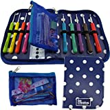 BEST CROCHET HOOK SET WITH ERGONOMIC HANDLES FOR EXTREME COMFORT. Perfect Hooks for Arthritic Hands, Smooth Needles for Superior Results & 22 Knitting Accessories to use with all Patterns (blue)