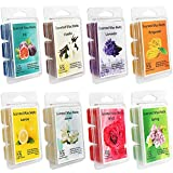 Set of 8 Assorted Wax Cubes / Melts / Tarts - 2.5 oz each. Jasmine, Rose, Bergamot, Fig, vanilla, lemon, spring , Lavender, Meditation, Bathroom setting.