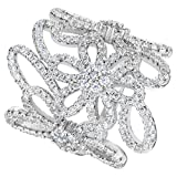 EVER FAITH Sterling Silver 925 CZ Art Deco Flower Finger Knuckle Cocktail Ring Clear - Size 9