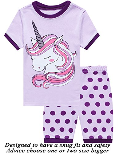 Short Girls Pajamas - Little Pajamas Unicorn Sleepwear 100% Cotton Summer Short Toddler Pjs Clothes Shirts Purple 6