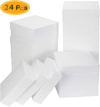 DIY Arts and Crafts Craft Foam Cube White Modeling 6 x 6 x 6 inches 4-Pack Square Polystyrene Foam Block Foam Brick for Sculpture