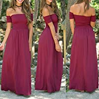 Wensltd Womens Casual Off shoulder Slim Fit Evening Party Long Maxi Pleated Dress (XL, Red)