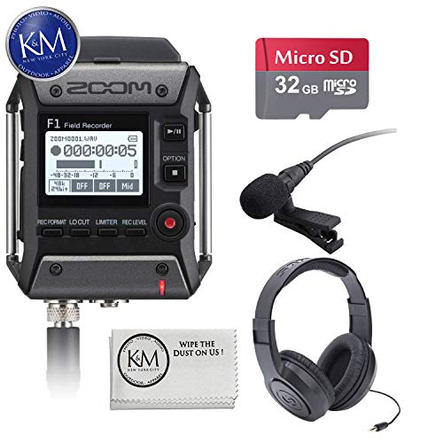 Recorder Package - Zoom F1 Field Recorder Lavalier Package + 32GB SD Card + Headphones + K&M Cloth