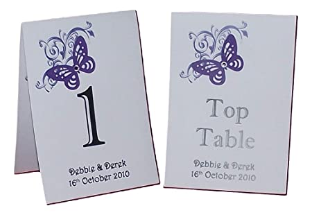 8 Handmade Personalised Wedding Table Numbers Butterfly