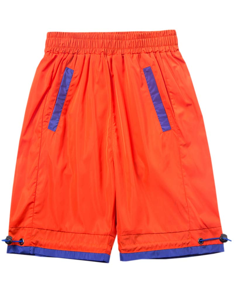 Welity Boys' Girls' Athletic Workout Gym Running Shorts with Pockets, Beach Boardshort for Youth Boys & Girls, Orange, 11-12 Years=Tag 160
