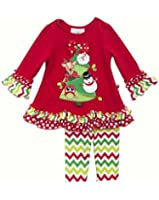 Rare Editions Baby Girls' Red CHRISTMAS TREE Chevron Leggings 2-pc Outfit