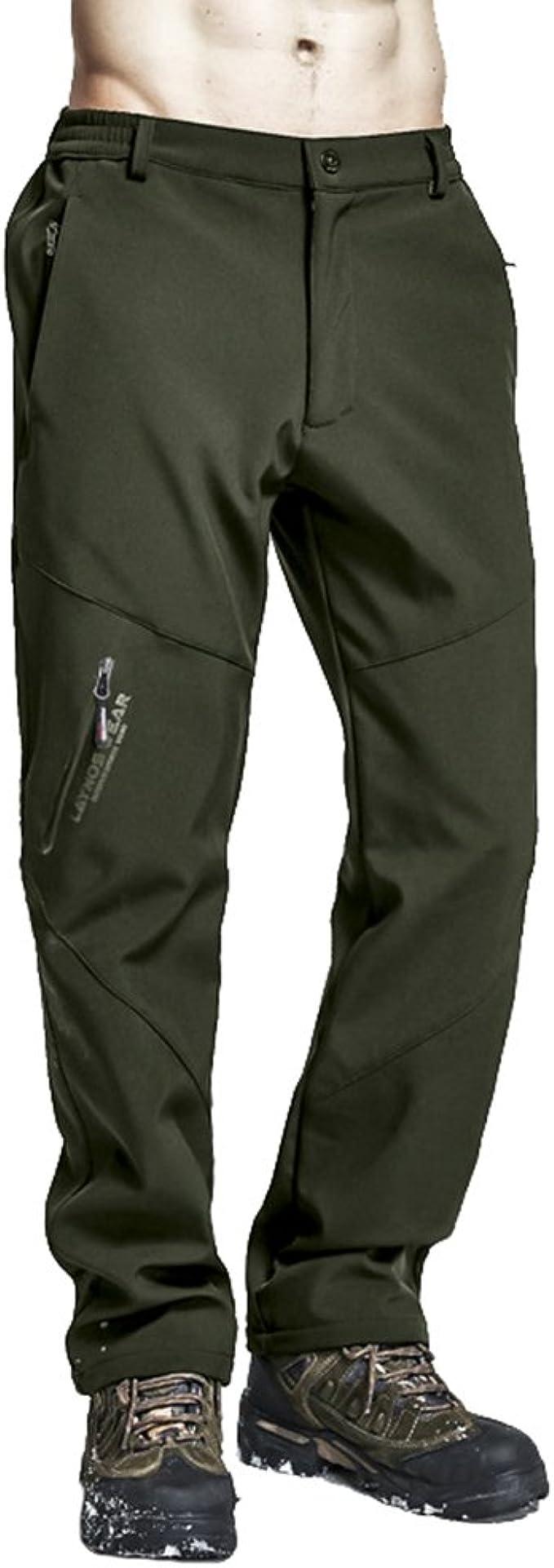 Zhiyuanan Hombre Pantalones De Invierno Softshell De Forro Polar De Cálido Outdoor Impermeable Montaña Trekking Pantalon De Esquí De Nieve con Cintura ...