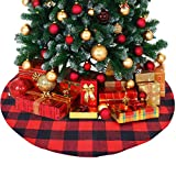 ATLIN Buffalo Plaid Christmas Tree Skirt - Larger 3 Inch Red and Black Checks for a Traditional Look - Machine Wash and Dry – 3 ft and 4 ft Diameter Options
