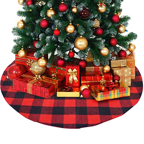 ATLIN Buffalo Plaid Christmas Tree Skirt - Larger 3 Inch Red and Black Checks for a Traditional Look - Machine Wash and Dry - 3 ft and 4 ft Diameter Options ()