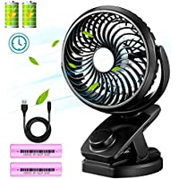 Winique Personal Clip on Fan - 4400mAh Rechargeable Battery Operated Mini Portable Fan - 360 Degree Rotation Desktop USB Fan for Baby Stroller, Crib, Outdoor Activity, Home and Office (Black)