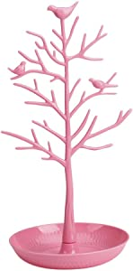 ChezMax Plastic Birds Tree Stand Jewelry Display Necklace Earring Bracelet Holder Organizer Rack Tower, Pink, 11.8 Inch