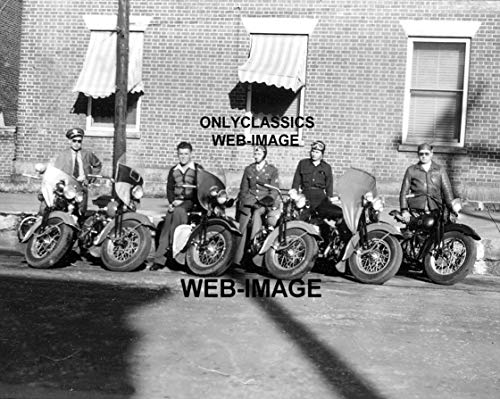 OnlyClassics 1947 Indian & Harley Davidson Motorcycle Lineup 8X10 Photo Police COP Tough Guys ()