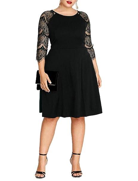 78b51b422c0 GMHO Women s Plus Size O Neck 3 4 Sleeve Swing Fit Party Elegant Formal  Summer