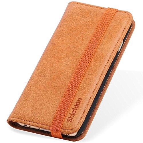 reputable site 01056 8190c SHIELDON® iPhone 6S Case, Genuine Leather Wallet Case, Classic Flip ...