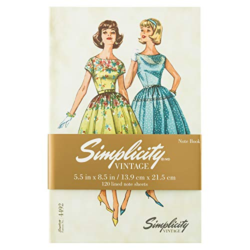 Simplicity Fashion - Simplicity Vintage Fashion 1960's Hardcover Journal Notebook for Women, 5.5'' x 8.5'', 240 Pages