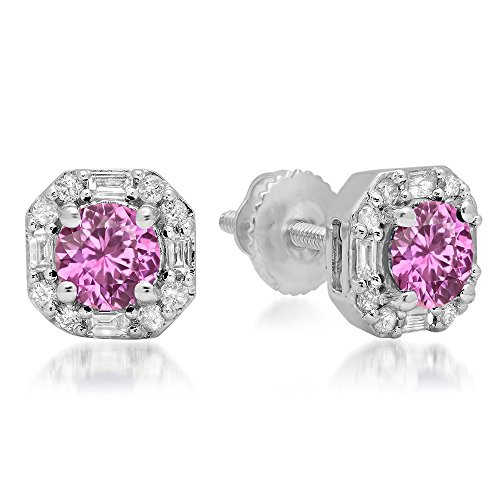 (Fingalo 10K White Gold Round Pink Sapphire & Baguette & Round White Diamond Ladies Halo Style Stud Earrings)