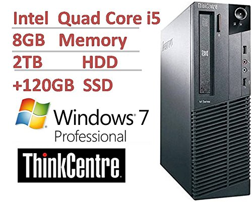 2016 Lenovo ThinkCentre M82 Small Form Factor Business Desktop Computer, Intel Quad Core i5-3470 up to 3.6Ghz CPU, 8GB DDR3, 2TB HDD + 120GB SSD, USB 3.0, DVDRW, Windows 7 Pro (Certified Refurbished)
