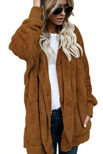Vello Davanti S Donne Outercoat Brown Aperto Top Cardigan Occasionale Inverno Caldo Le wtn6q4XTx