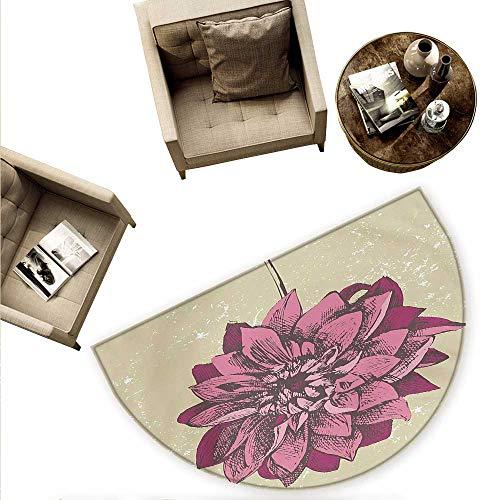 "Boho Half Round Door mats Vintage Dahlia Flower with Murky Grunge Featured Background Growth Bohemian Pattern Bathroom Mat H 78.7"" xD 118.1"" Purple Khaki"