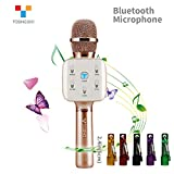 TOSING Q7S Wireless Karaoke Microphone Bluetooth Speaker 2-in-1 Handheld Sing & Recording Portable KTV Player Home KTV Music Machine System for iPhone/Android Smartphone/Tablet Compatible (rose gold)