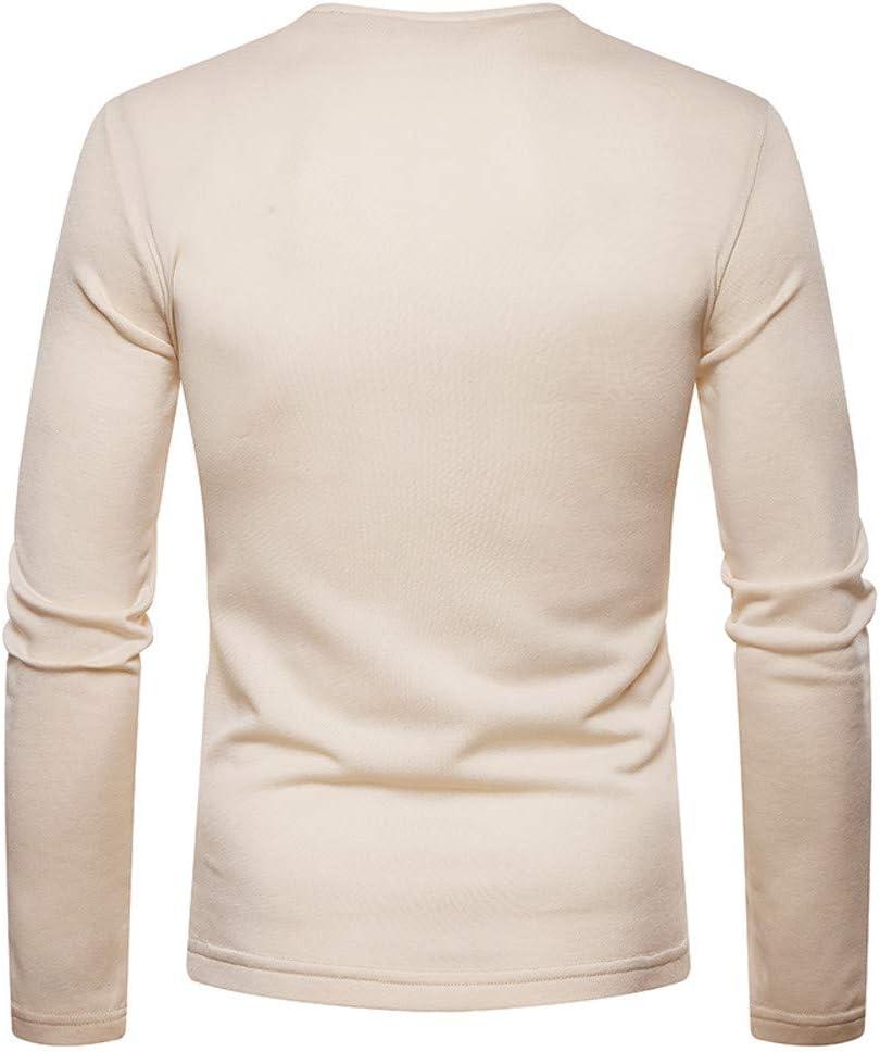 YIHANK Homme Henley T-Shirt /À Manches Longues Couleur Pure Tunisien Doublure Polaire Pull Haut