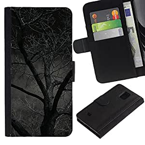 Be Good Phone Accessory // Caso del tirón Billetera de Cuero Titular de la tarjeta Carcasa Funda de Protección para Samsung Galaxy S5 Mini, SM-G800, NOT S5 REGULAR! // Night Tree Forest Scary Halloween