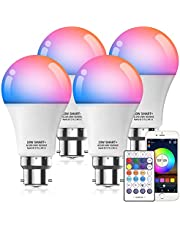 HaoDeng 10W A19 B22 (90W Equivalent) 800Lumens WiFi & Bluetooth & Remote 3in1 RGBCW WiFi LED Smart Bulb - Dimmable, Multicolor, Tunable White - Compatible with Alexa, Google Home Assistant and IFTTT (4 Pack)