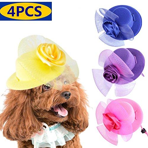 4 Pcs Stylish Pet Party Costume Hats Dog Cat Birthday Headwear Beautiful Rose Hats for Small Dog Cat Puppies Pink/Yellow/Blue/Purple -