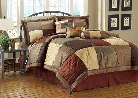 7 Piece Sequoia Burgundy/Gold/Brown Comforter Set Queen