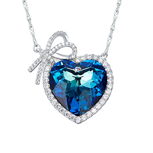 [D.B.MOOD Women's Elegant 18k White Gold Plated Austria Crystal Necklace Heart Shaped Pendant Necklace] (Titanic Costumes Ideas)