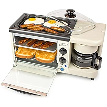 Nostalgia BSET100BC Retro 3-in-1 Breakfast Station Coffeemaker, Griddle, Toaster Oven, Makes 4 Cups of Coffee, 2 Slice, Bisque